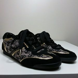 Michael Kors Black and Gold Sneakers Sz 8.5